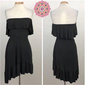 Ecote UO | Black Strapless Asymmetrical Hem Dress